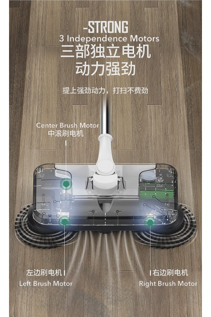 KLINZRUI Rechargeable 2-In-1 Cordless Electric Sweeper and Mop Spin 3 Spinning Brushes Motors Slime Size Electric Broom for Floor Cleaning and Mopping